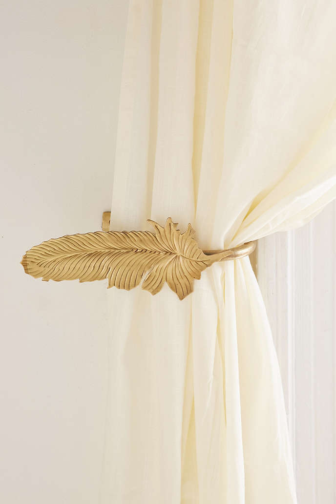 deal of the day gold feather curtain tie backs from urban. Black Bedroom Furniture Sets. Home Design Ideas